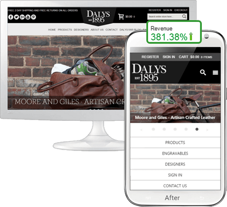 Ecommerce mobile website