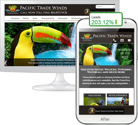 Travel and tourism mobile website